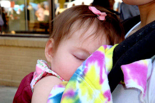Babywearing - Peanut Sleeping in Ergo