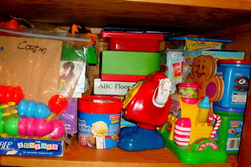Organize - Game Closet After - Bottom Shelf