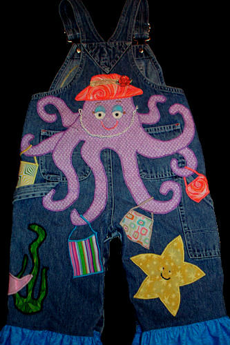 Mermaid Appliqué - Overalls Back