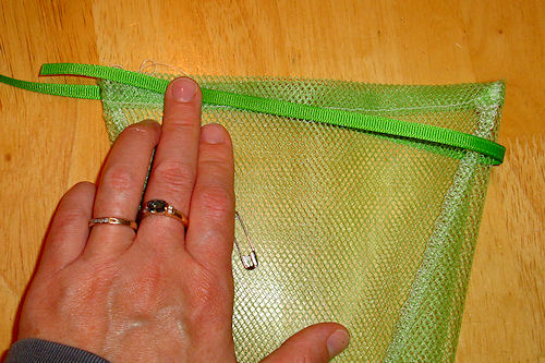 Make Mesh Produce Bags - Measure Ribbon