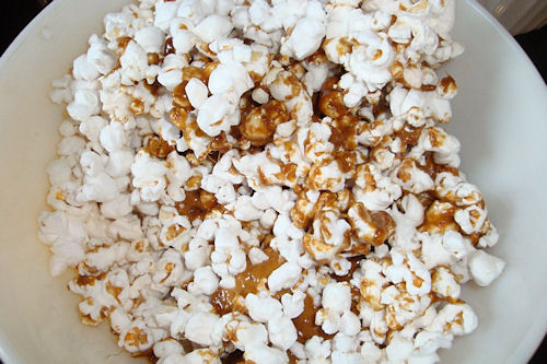 Microwave Caramel Corn Recipe - Stir in Caramel