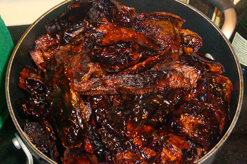 Mexican Mole Sauce - Soaking Chile Peppers
