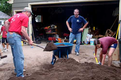 Raised Garden - Dad, Uncle Jay and Dee Moving Dirt