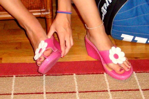 Clothes Swap - Pink Flower Sandals