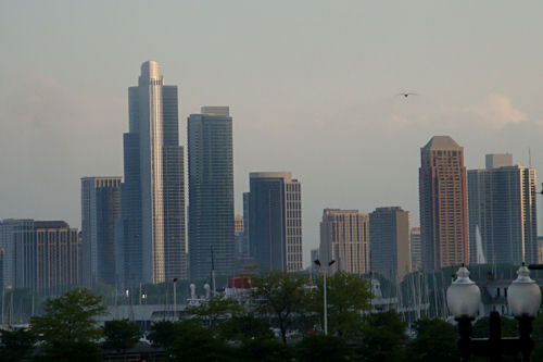 Chicago - Skyline with Sunshine