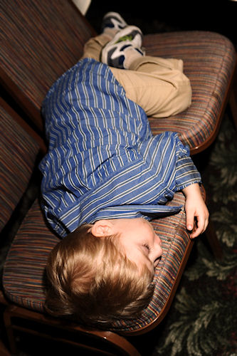 Wedding Reception - Little Guy Sleeping on Chair