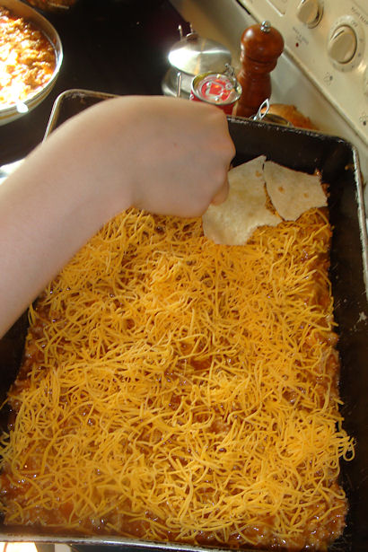 Enchilada Casserole Recipe -Layering the Casserole