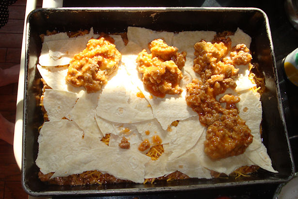 Enchilada Casserole Recipe - Refried Beans