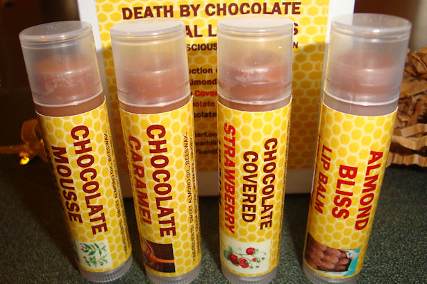 Natural Lip Balm - Almond Bliss, Chocolate Caramel, Chocolate Covered Strawberry and Chocolate Mousse