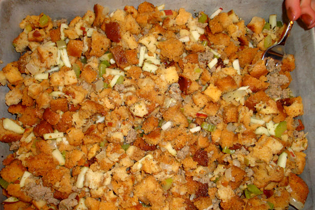 Sausage Apple Stuffing - Spread in Pan