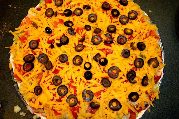 Taco Dip Recipe - Add Cheese & Black Olives
