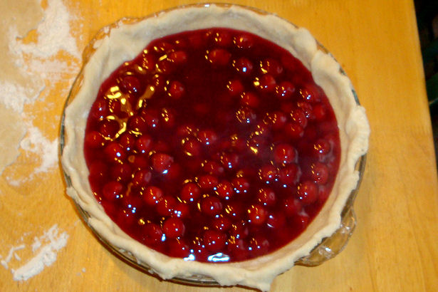 Best Cherry Pie Recipe - Filling in Crust