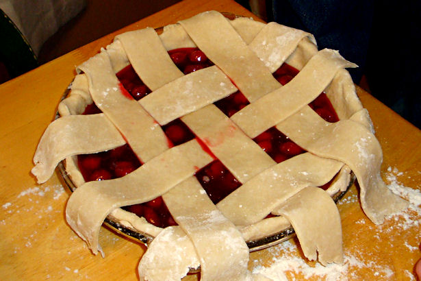 Best Cherry Pie Recipe - Lattice Top Done