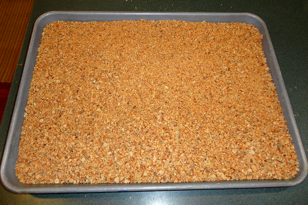 Italian Seasoned Bread Crumbs - Cooling