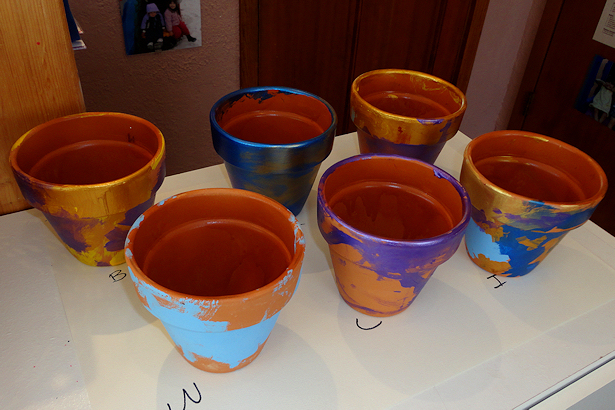 Painted Flower Pots for Mother's Day - Pots Sprayed