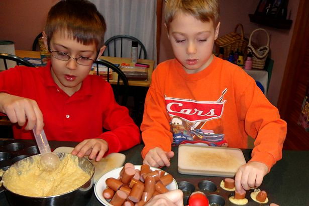 Mini Corndog Muffins - Boys Assembling the Muffins
