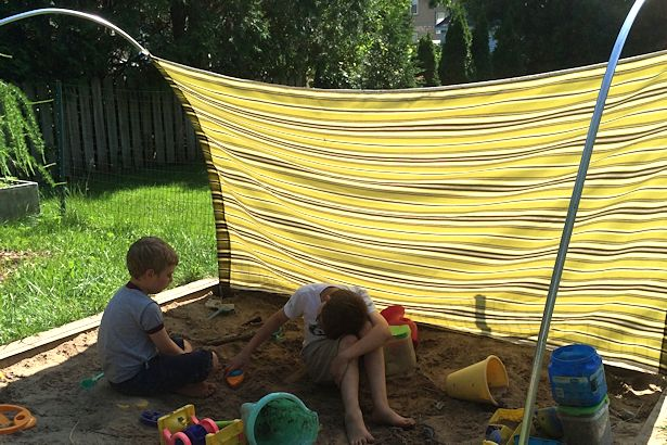 DIY Outdoor Canopy - Boys Playing