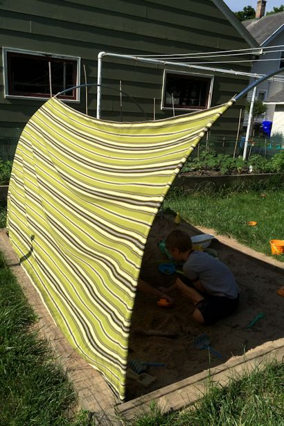 DIY Outdoor Canopy - Side View & DIY Outdoor Canopy - My Happy Crazy Life