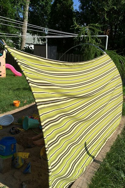 DIY Outdoor Canopy - View from Other Side & DIY Outdoor Canopy - My Happy Crazy Life