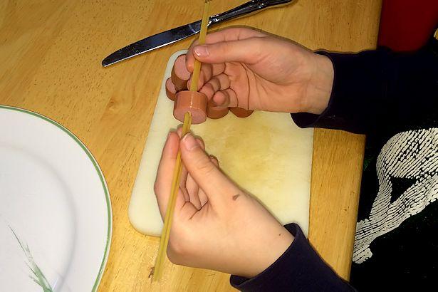 Hot Dog Squid Recipe - Sticking Spaghetti In