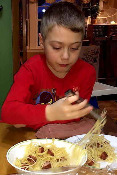 Hot Dog Squid Recipe - Little Guy Helping Himself