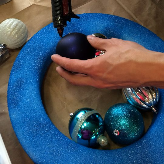 How to Make an Ornament Wreath - Glue Inner Circle