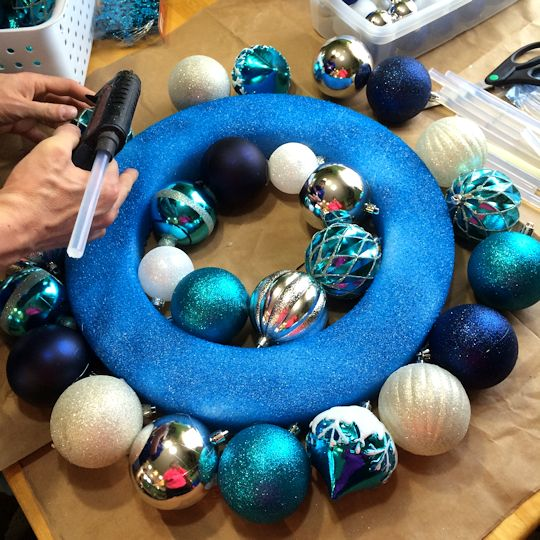 How to Make an Ornament Wreath - Glue Outer Circle
