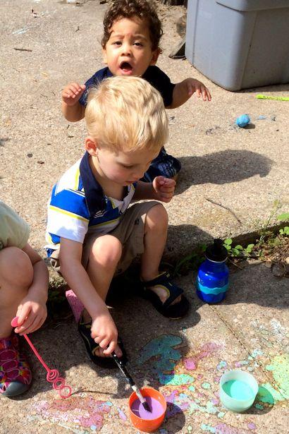 Make Sidewalk Chalk Paint - Boys Painting