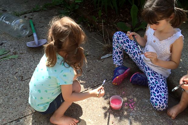 Make Sidewalk Chalk Paint - Girls Painting