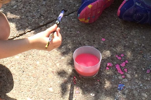 Make Sidewalk Chalk Paint - Paint Splatters