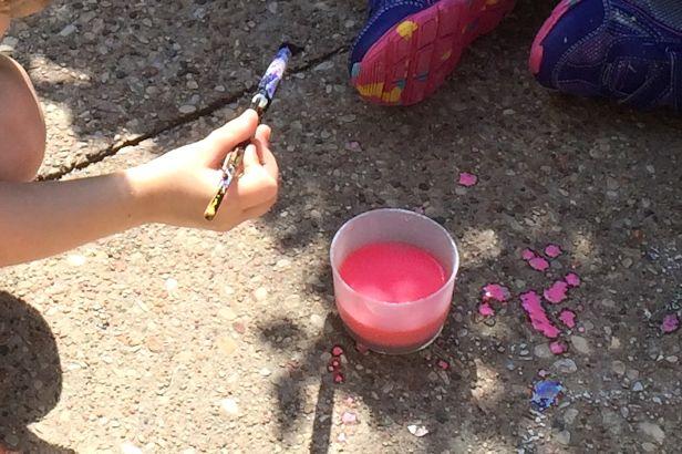Make Sidewalk Chalk Paint - Paint Splatters