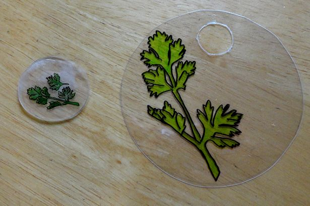 DIY Plant Marker Shrinky Dink - Comparison 1