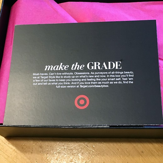 Target Beauty Box August 2016 - Intro Card