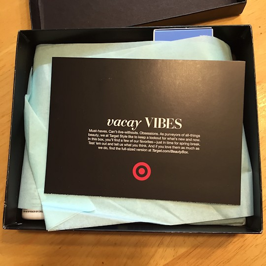 Target Beauty Box March 2016 - Inside Box
