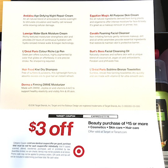 Target Beauty Box May 2016 - Coupon