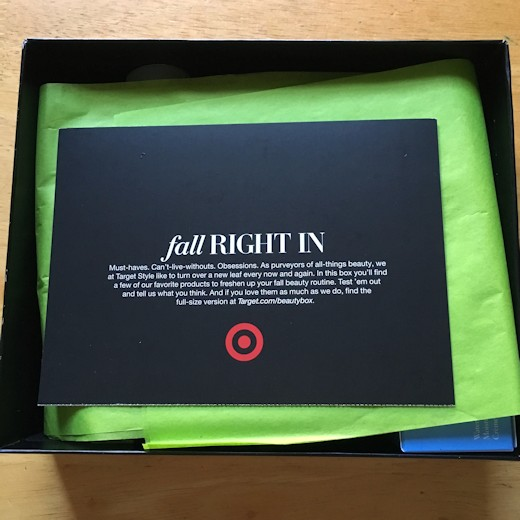 Target Beauty Box September 2016 - Intro Card